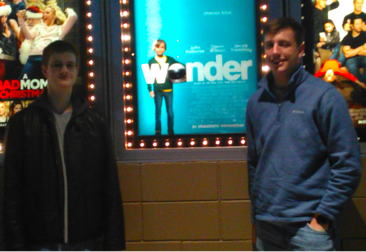 The+writer+and+his+brother+in+front+of+the+Wonder+movie+display.