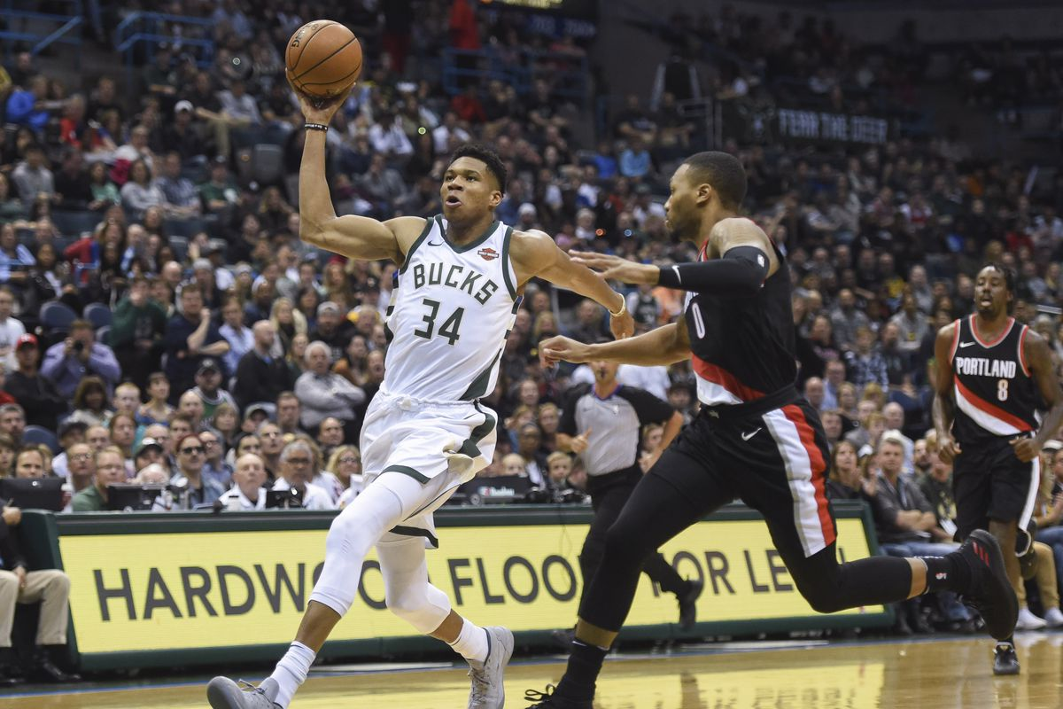 Giannis Antetokounmpo going for a layup against Portland.