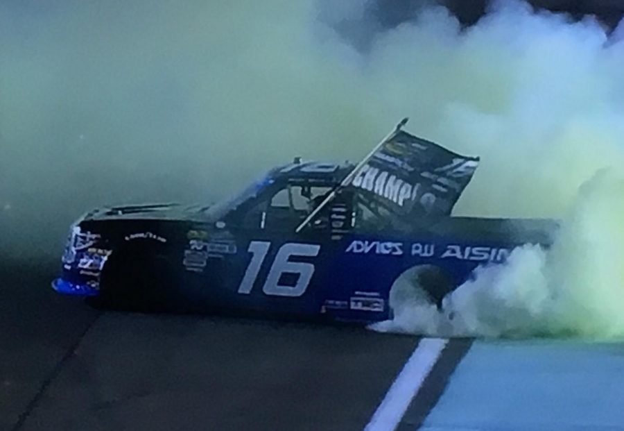Brett+Moffitt+burning+out+after+winning+his+first+Truck+Series+championship