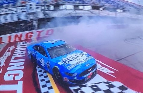 Kevin Harvick does donuts after winning at Darlington