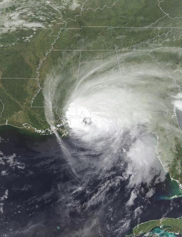 Hurricane Sally as it makes landfall on the United States Gulf Coast