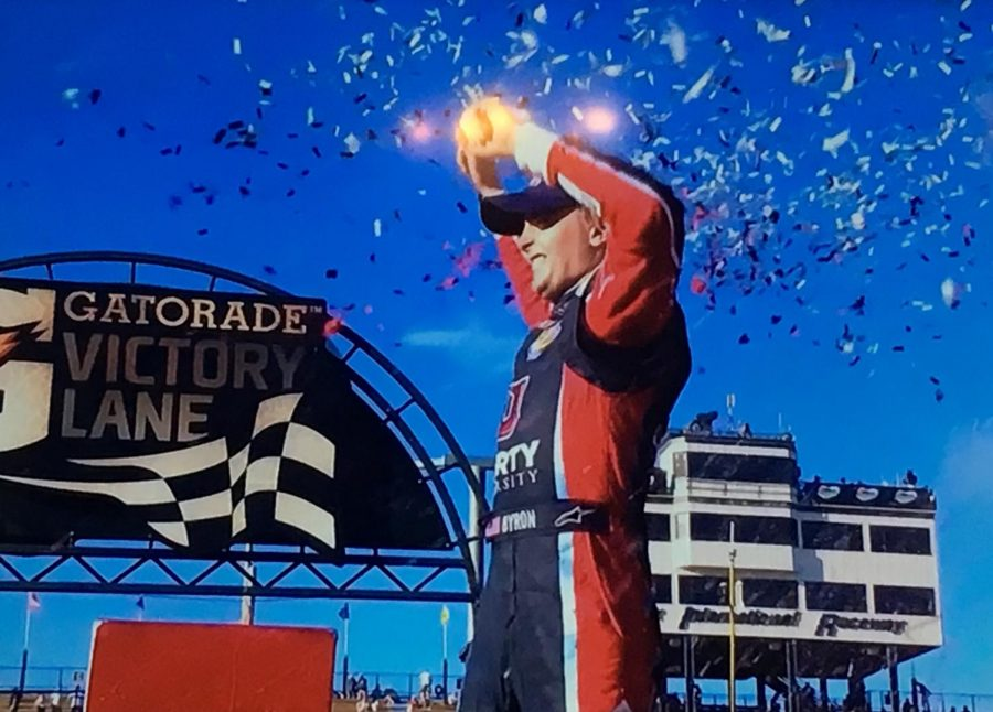 Byron celebrating in Victory Lane at Phoenix