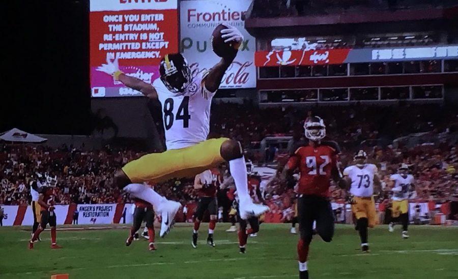 Antonio Brown celebrates a touchdown against Tampa Bay