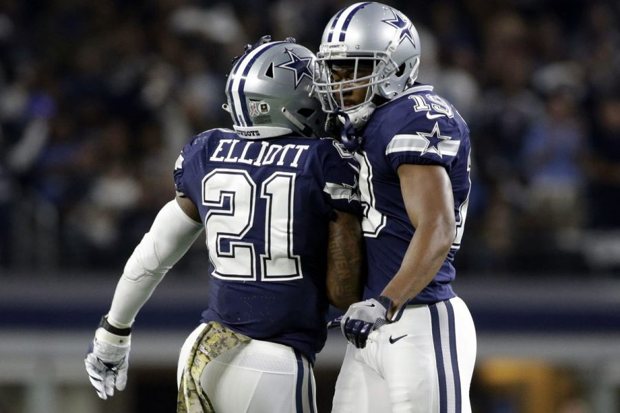 Ezekiel+Elliott+and+Amari+Cooper%2C+who+both+starred+for+the+Dallas+Cowboys+in+their+37-10+win+over+Philadelphia
