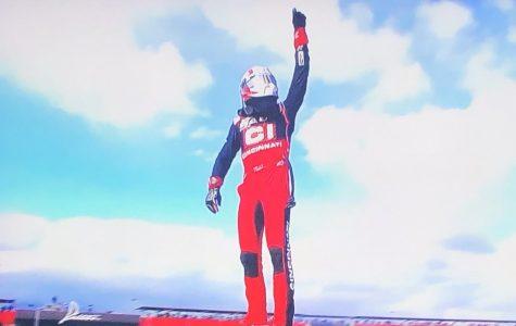Alex Bowman celebrates after winning Sunday's Auto Club 400