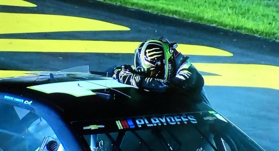 Kurt Busch celebrates after an emotional win at his home track