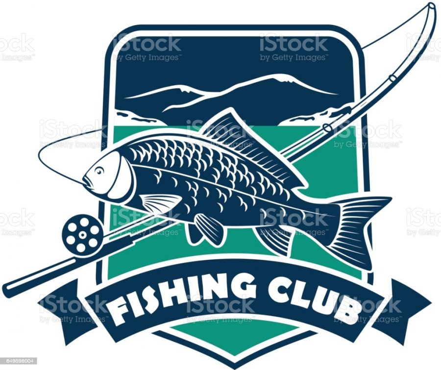 Fisherman sport adventure badge with vector shield shape symbol, fishing rod with float and hook, big carp of tuna fish in river water with blue ribbon design